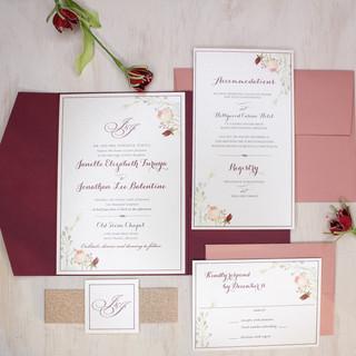 rose gold floral invitation