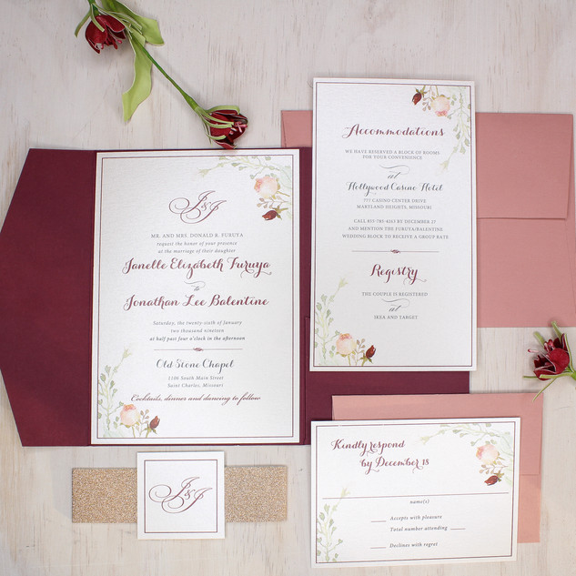 rose gold floral invitation