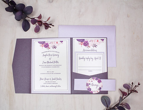 Purple Floral Invitation with Layer and Pocket