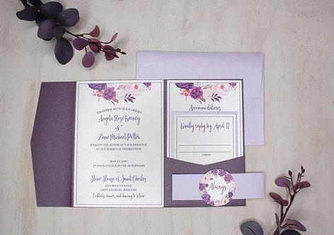 Purple Floral Invitation with Pocket