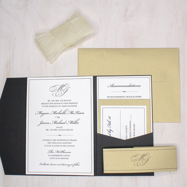 classic gold shimmer black pocket invitation