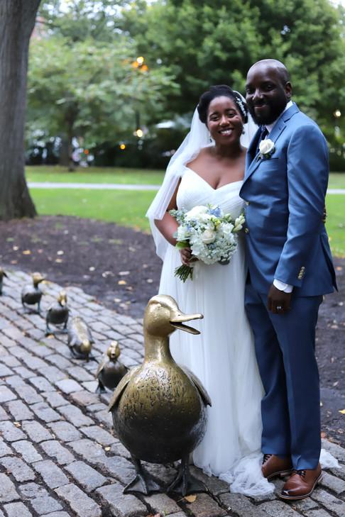 Bride and Groom at Boston Public Garden