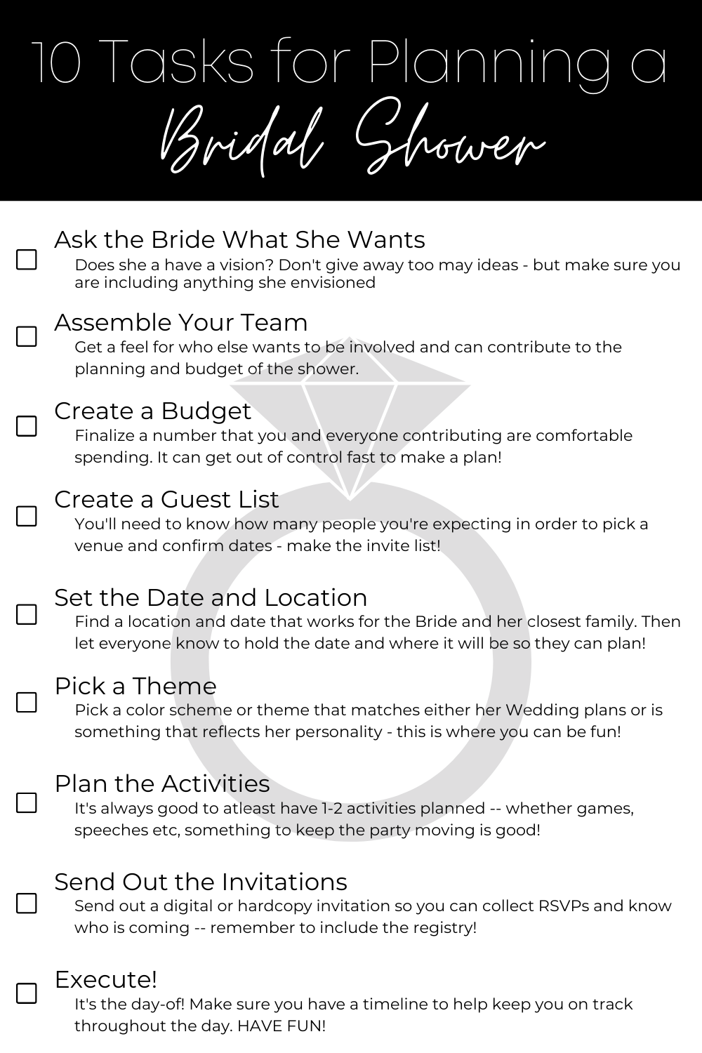 Cheat Sheet for Planning a Bridal Shower