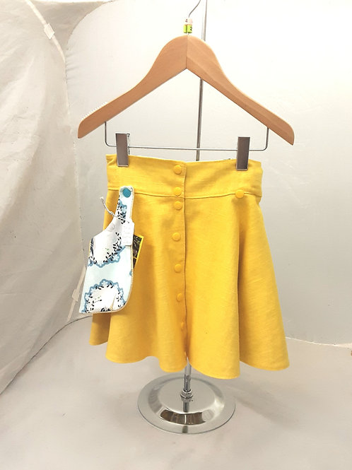 Jupe qui tourne réversible jaune citron et licornes dorees