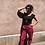 Thumbnail: Pantalon coton rose fuschia flèches dorées.