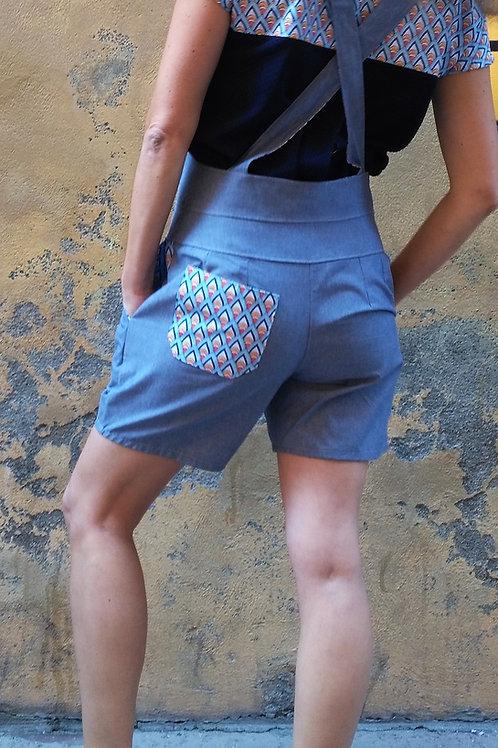 Caropette short chambray et graphique multicolore