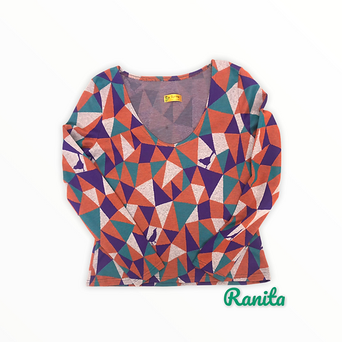 Tshirt manches longues maille triangles vert violet orange