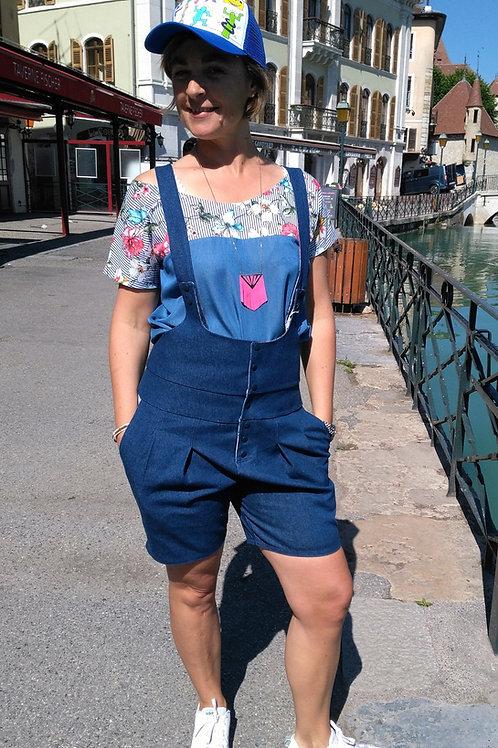 Caropette short Jean Bleu Fleurs