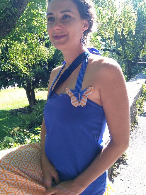 Haut dos nu papillon bleu
