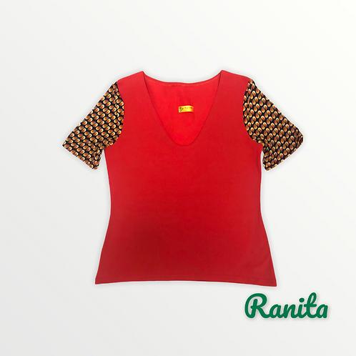 T shirt manches courtes rouge et manches imprimé gouttes