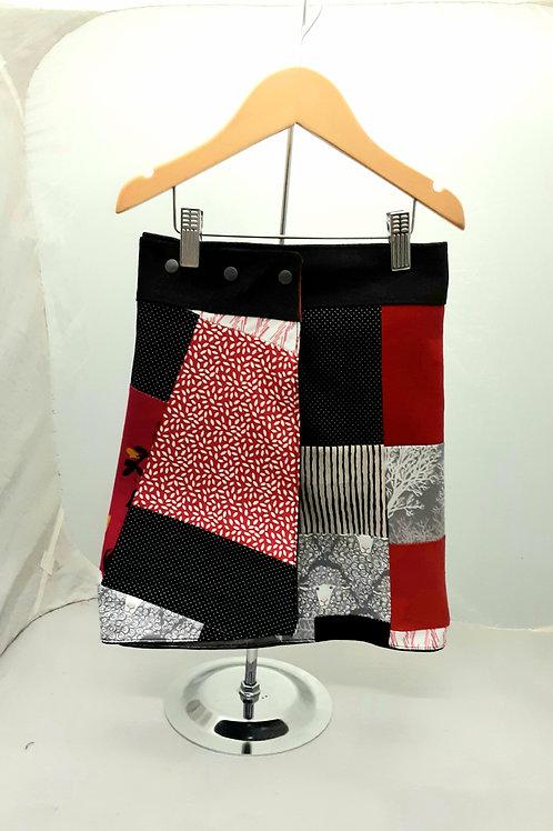 Jupe portefeuille réversible 4 à  10 ans gris et rouge