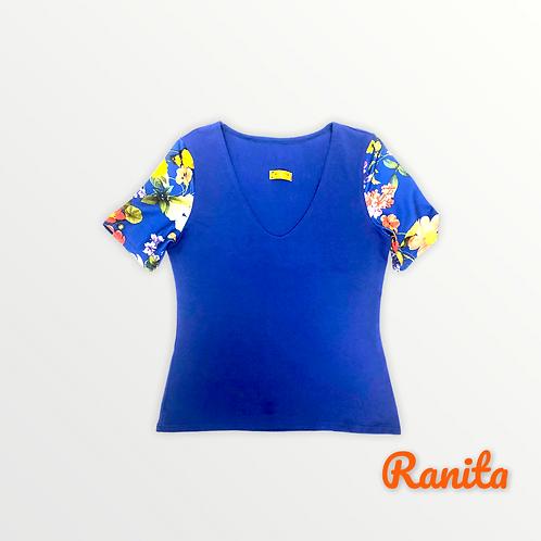 T shirt manches courtes bleu électrique manches fleurs