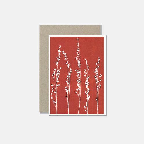 Grusskarte A6 - Gräser siena