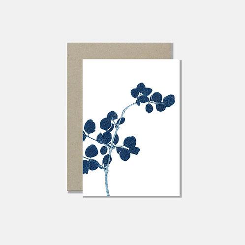 Grusskarte A6 - Zweig blau