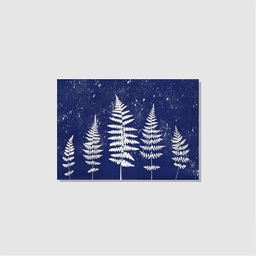 3 Weihnachtskarten Winterwald blau