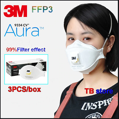 3M FFP3 AURA 9334CV+ 120-pack lufthål