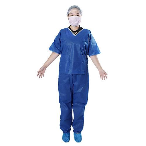 Scrub Suit 7002 Disposable- V Neck Blue light/dark