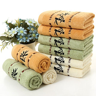 Bad handukar med bambo tema logo -Towel set