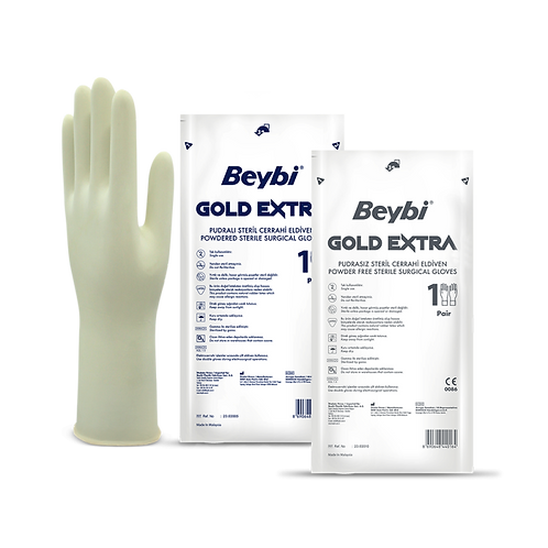 Gold Extra Surgical Gloves Powdered & Powder Free