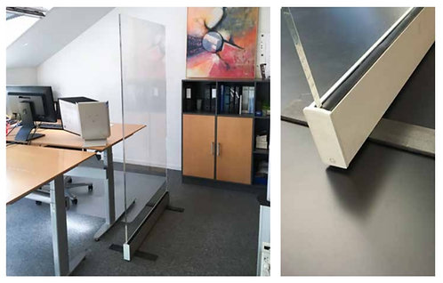 Golvavskärmning Sjukvård PVC/ Polykarbonat med aluminiumbotten