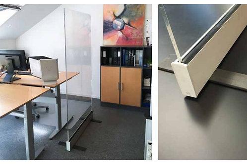 Golvavskärmning Plexiglas med aluminiumbotten