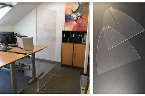 Golvavskärmning i Klart Plexiglas 180 x 100 cm med två trekantiga fötter