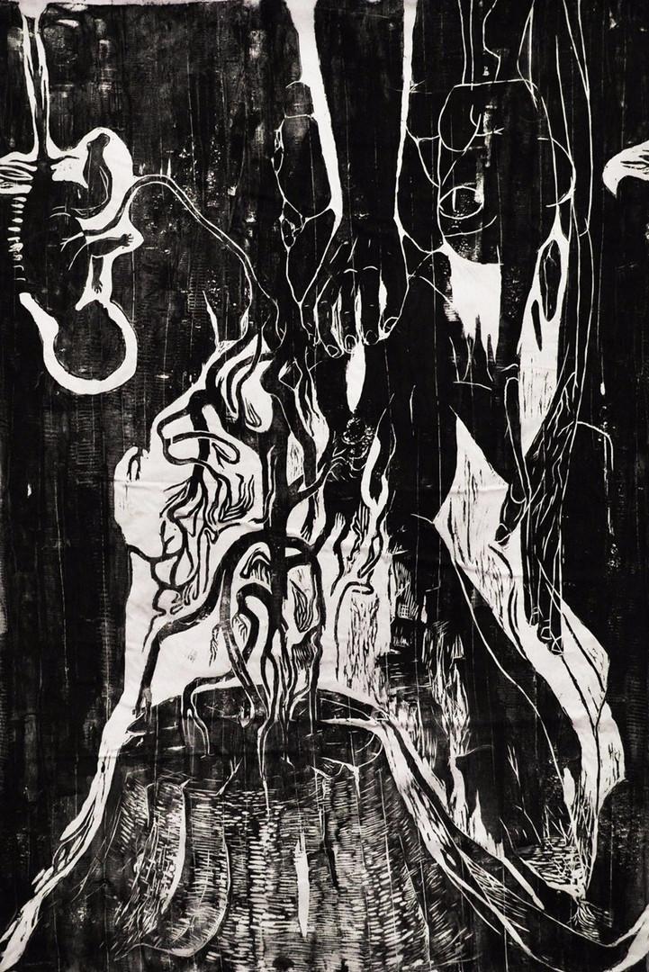 Rebirth_150x100_Woodcut on fabric