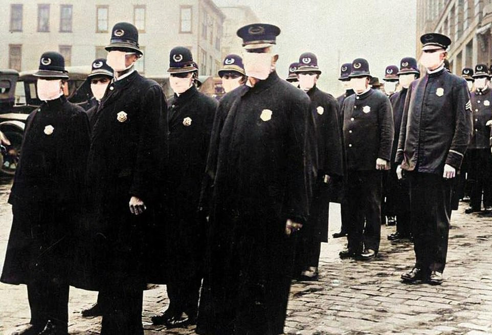 In the US, it became a legal requirement to wear one during periods of 2018 and Anti-Mask Leagues being formed of those who objected. Most of the deaths came in the deadly second wave of the virus at the end of 1919. Here, policemen in Seattle are all wearing facemasks