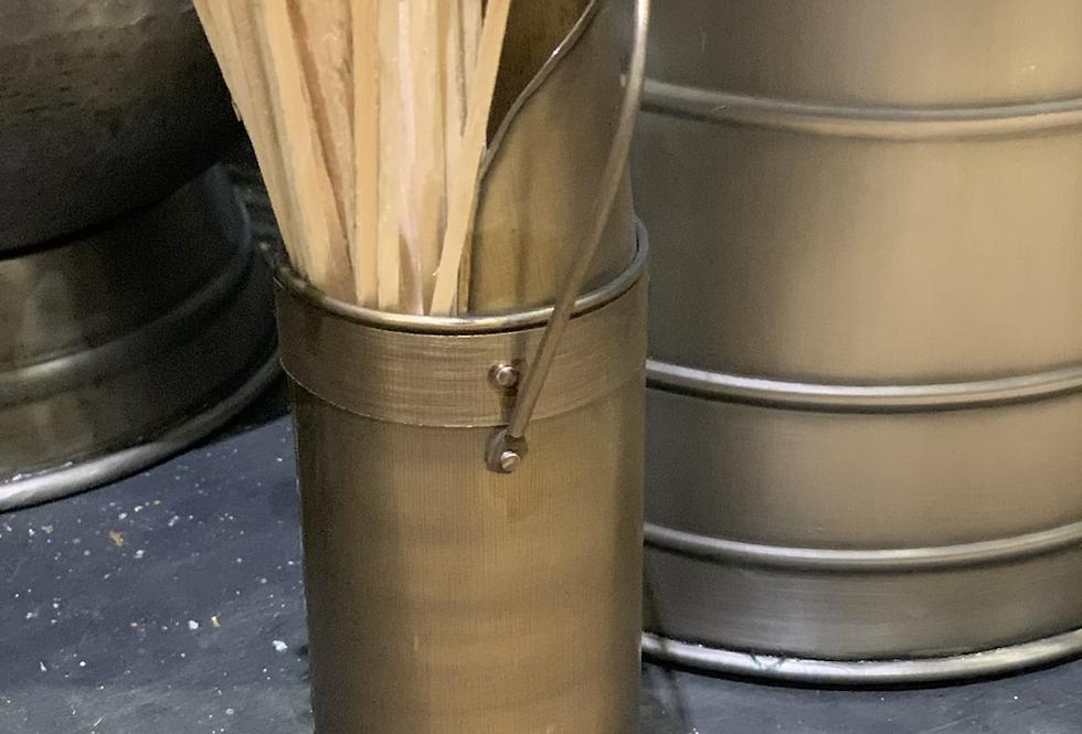 Antique Brass Match Holder With Matches