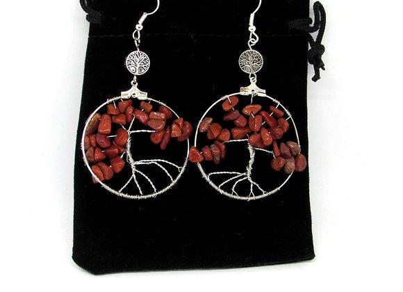 Boucles d'oreilles anneaux arbre de vie