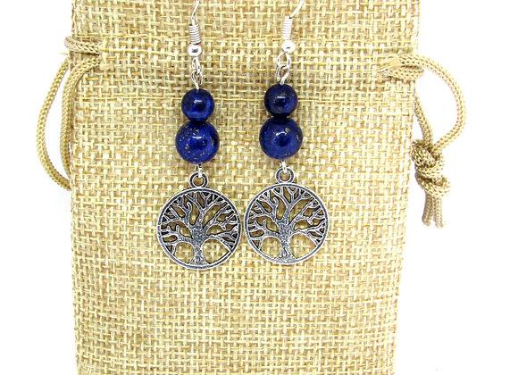 Boucles d'oreilles Lapis-lazuli avec arbre de vie