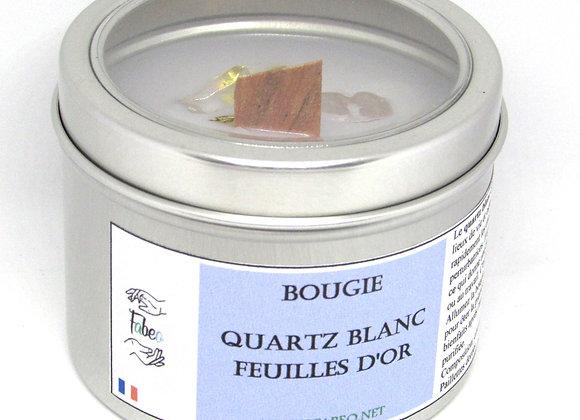 Bougie quartz blanc/Feuilles d'or