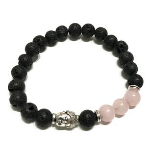 Bracelet pierre de lave, quartz rose
