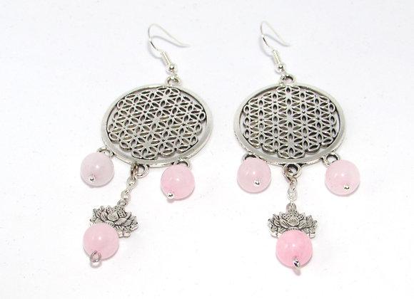 Boucles d'oreilles quartz rose et Fleur de vie