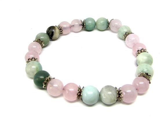 Bracelet Amazonite et Quartz rose