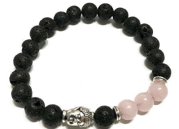 Bracelet Pierre de Lave - Bouddha/Quartz Rose
