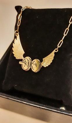 Cordão halter com asas banhado a ouro 18k cordão cartier