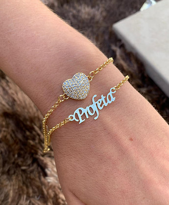 Pulseira dupla coração + personalizada banhada a ouro 18k