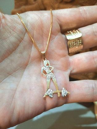 Colar boneca + Barra com ouro 18k e detalhes em ouro branco