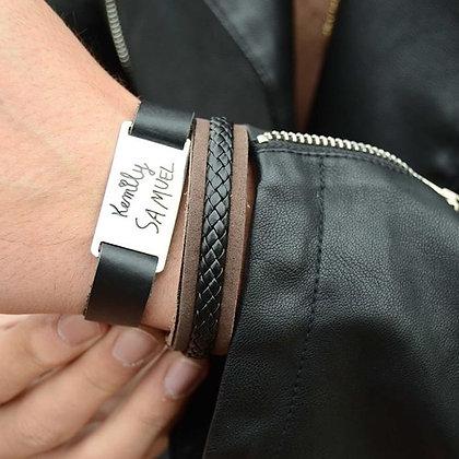 pulseira couro placa aço inox - reprodução caligrafia