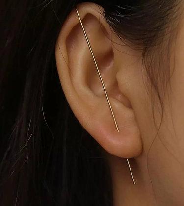 Brinco Ear Cuff alfinete liso prata 925 (1 unid)