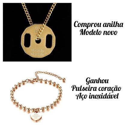 Compre anilha gold ganhe pulseira coração aço inoxidável