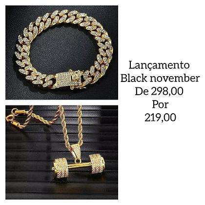Conjunto pulseira + colar halter zirconia