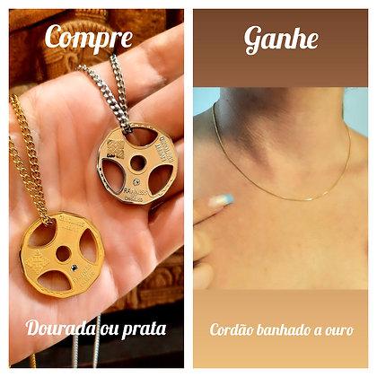 Compre anilha titânio ganhe cordão delicate banhado a ouro
