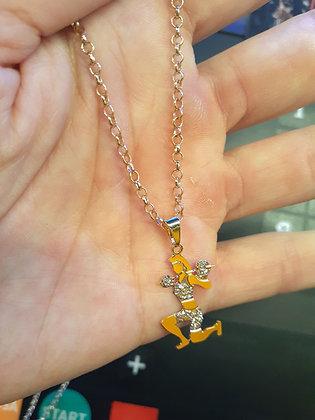 Colar afundo com detalhe ouro branco + cordão elo português 55 cm