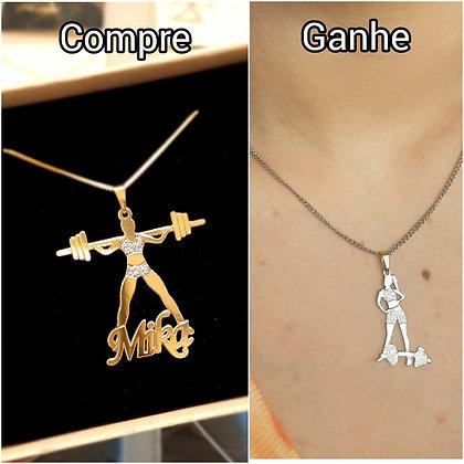 Compre cordão boneca personalizado GANHE + cordão inox