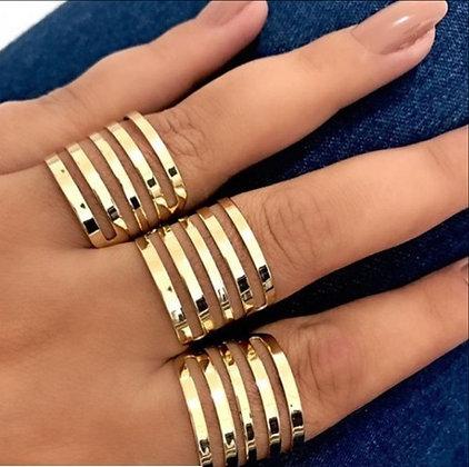 Trio de anéis gladiador banhado a ouro 18k