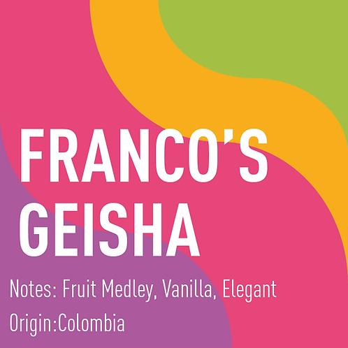 Colombia Franco's Geisha Natural (notes: Fruit Medley, Vanilla, Elegant)
