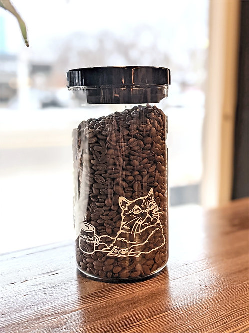Reusable Coffee Canister filled with 340g Yemen Ahmed Ali Peaberry