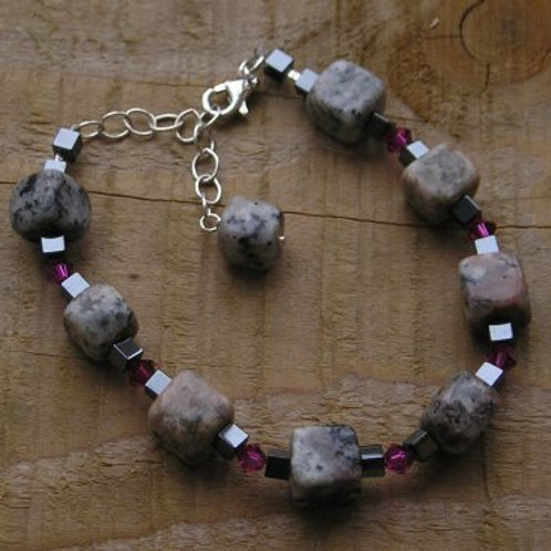 Sesame Jasper, Hematite and Swarovski Bracelet
